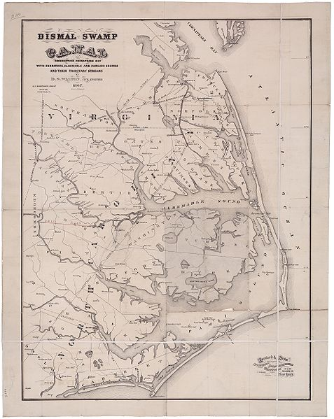 """Map of the Dismal Swamp Canal"" by D. S. Walton, Civil Engineer, 1867. University of North Carolina Libraries."