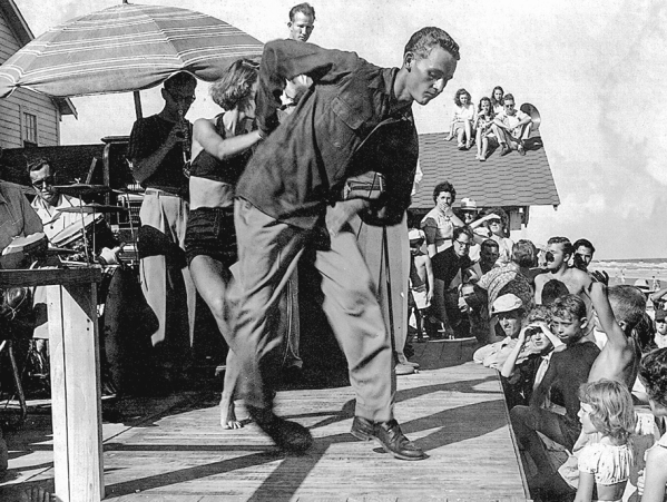 """Leon Williams dancing """"the shag"""" (photographer unknown)."""